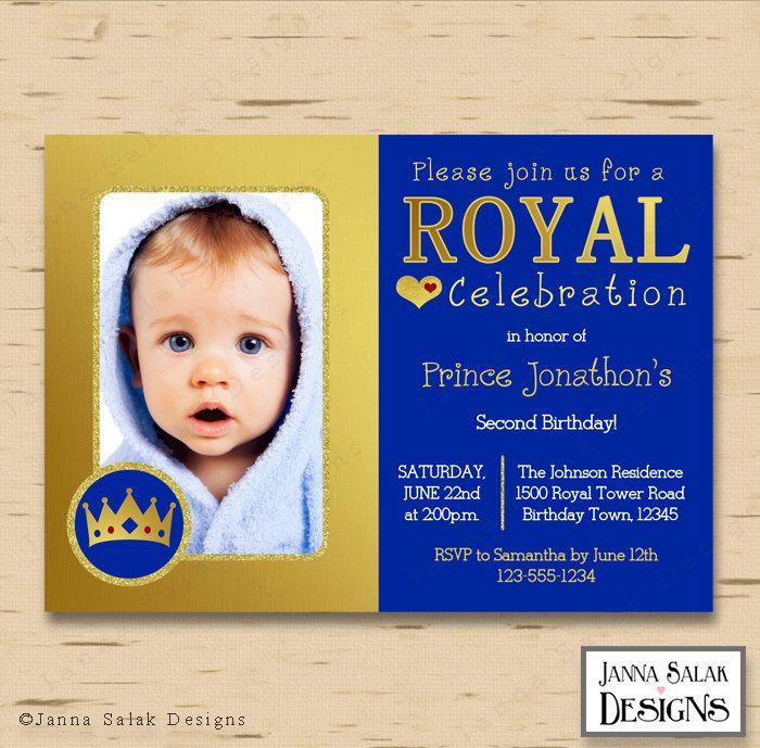 PRINTABLE Royal Prince Birthday Party Photo Invitation DIY Digital Blue and Gold Photo Invite by JannaSalakDesigns on Etsy
