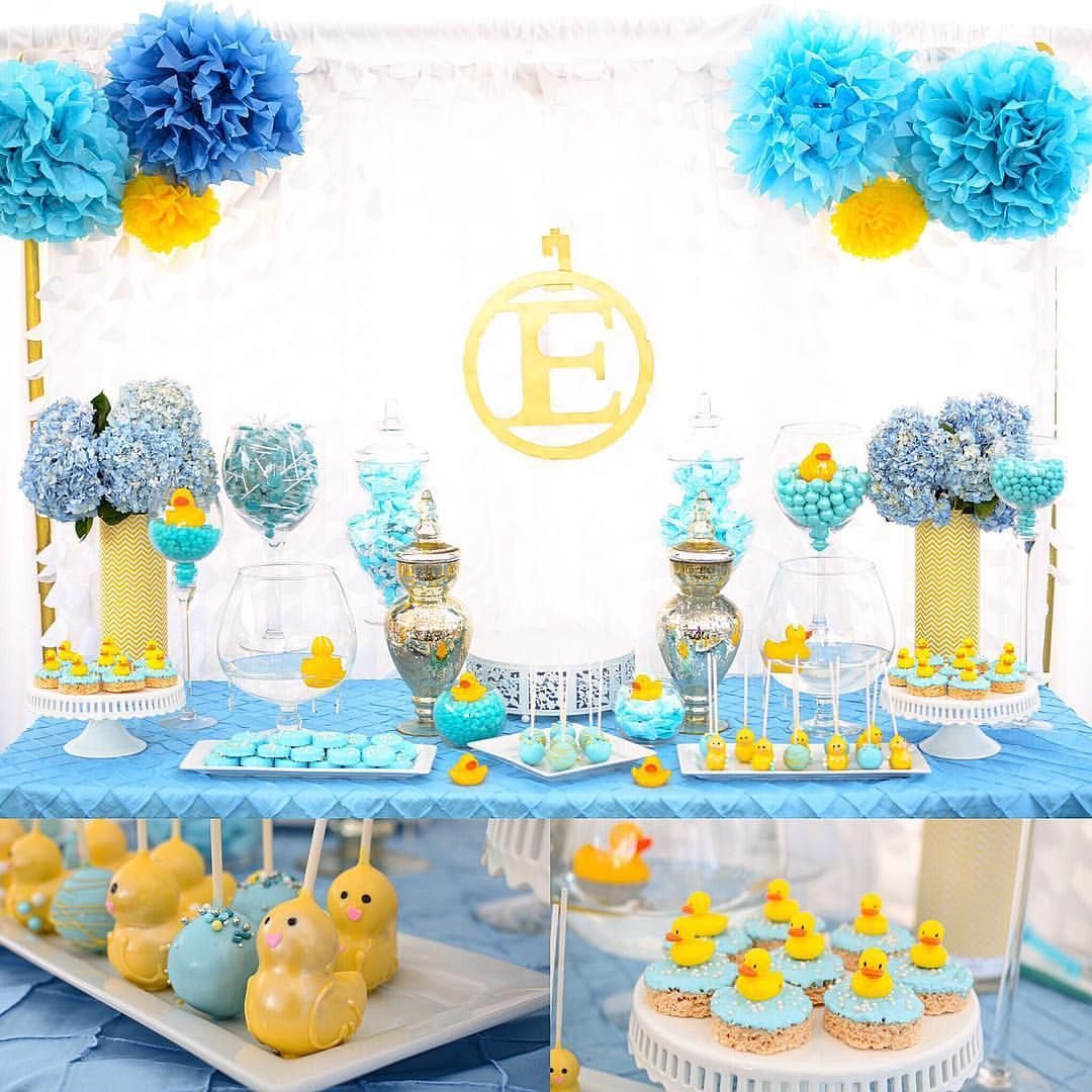 Ideas For A Rubber Ducky Baby Shower Dessert Table.