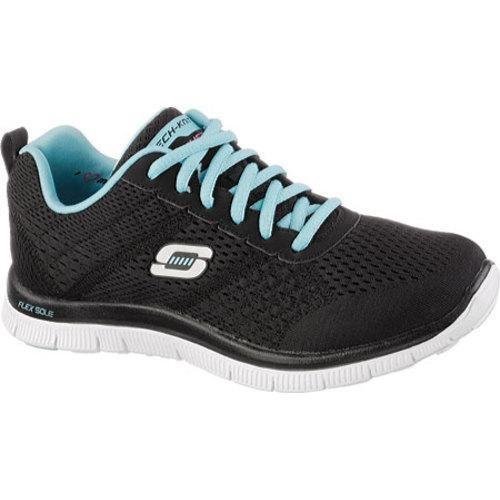Womens Skechers Flex Appeal Obvious Choice Memory Foam Running Shoe Black/Light Blue