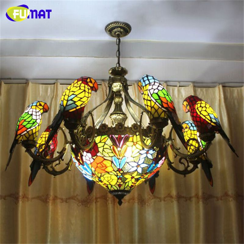 Fumat Parrots Chandelier European Vintage Glass Light Living Room Brilliant Stained Glass Light Fixtures Dining Room Inspiration