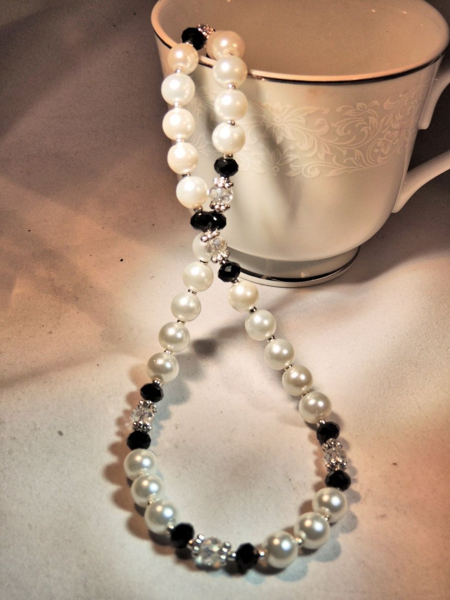 Black Women with Pearls | Classic White Pearl Black Sparkling Crystal Women Necklace