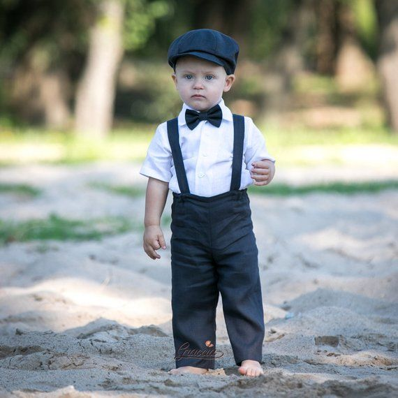 cbea49fed9c Ring bearer newsboy outfit Baby boy coal gray suit Baby linen suit Pants  Suspenders Newsboy hat Phot