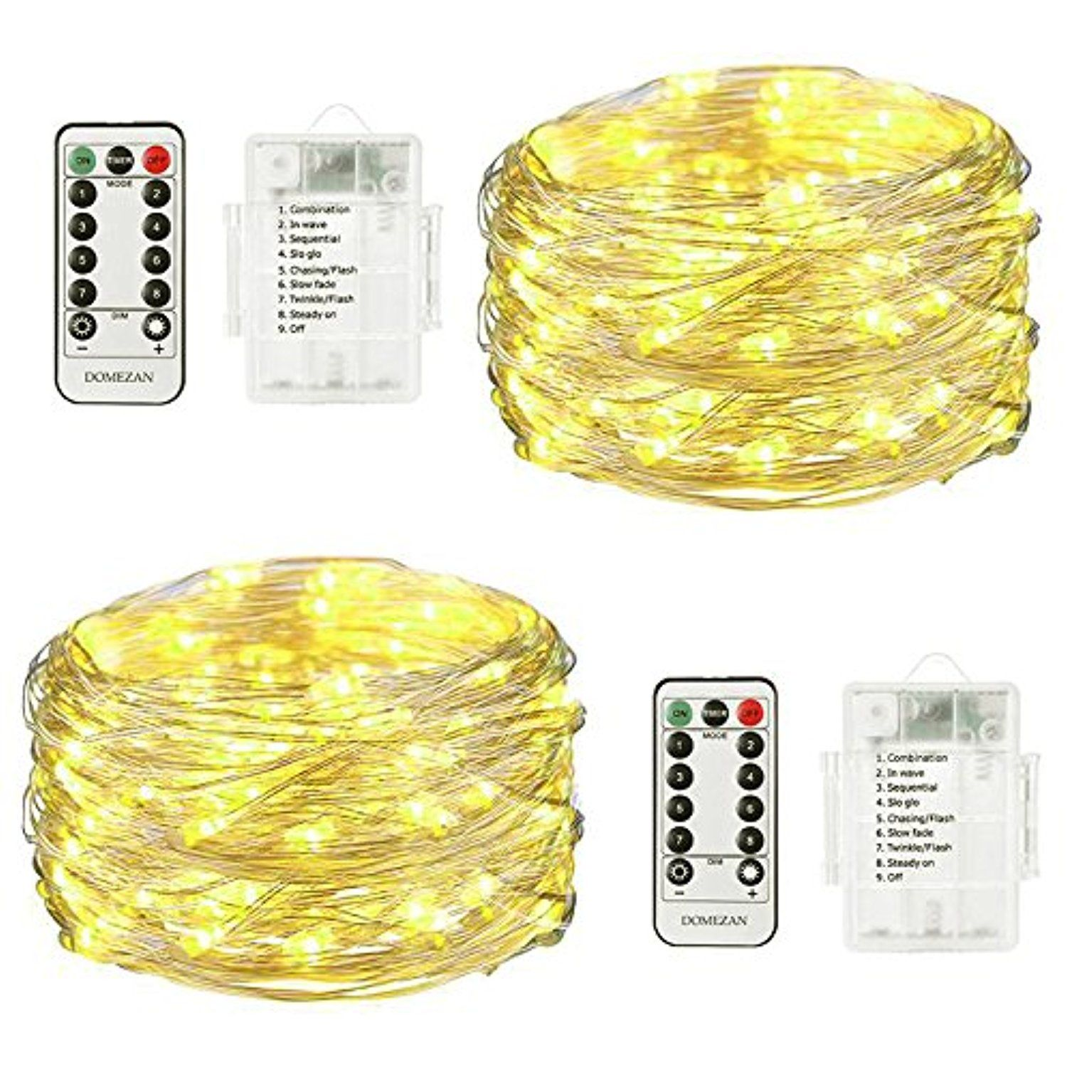 Fairy Lights Battery Operated Waterproof DOMEZAN, 2 x 16.4ft Copper ...