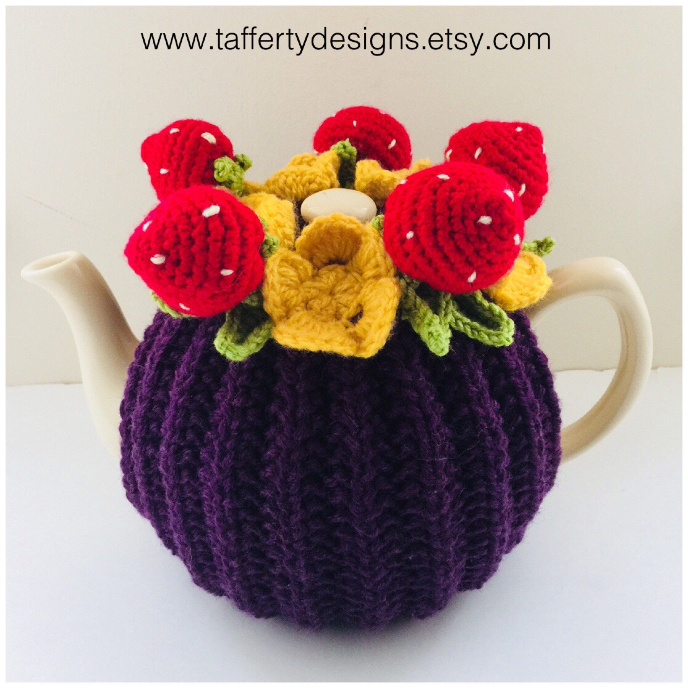 This stunning knitted \'Strawberry Patch\' #tea cosy is now listed in ...