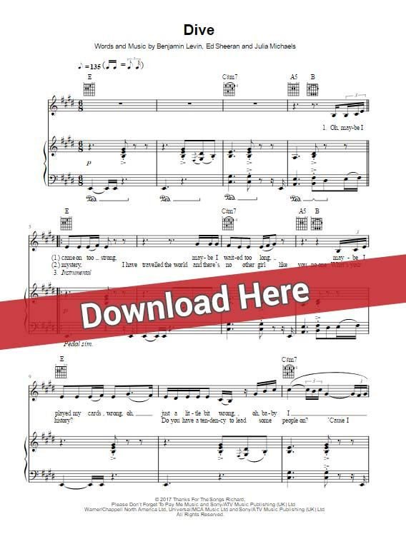 Ed Sheeran Dive Sheet Music Chords Piano Notes Sheet Music