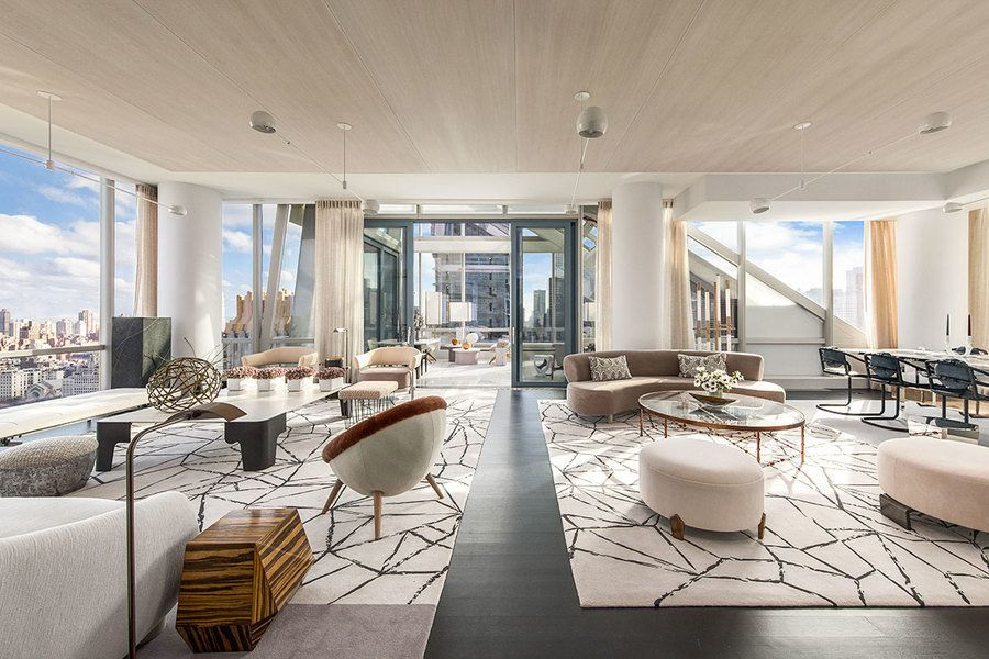 This living area of a duplex in tower One57 in New York City