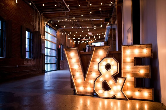 Indoor Outdoor Lighted Wood Marquee Letters Will Add Rustic Flair To Your Wall Garden Wedding Business Glass Bulbs Lighted Marquee Letters Handcrafted Wood