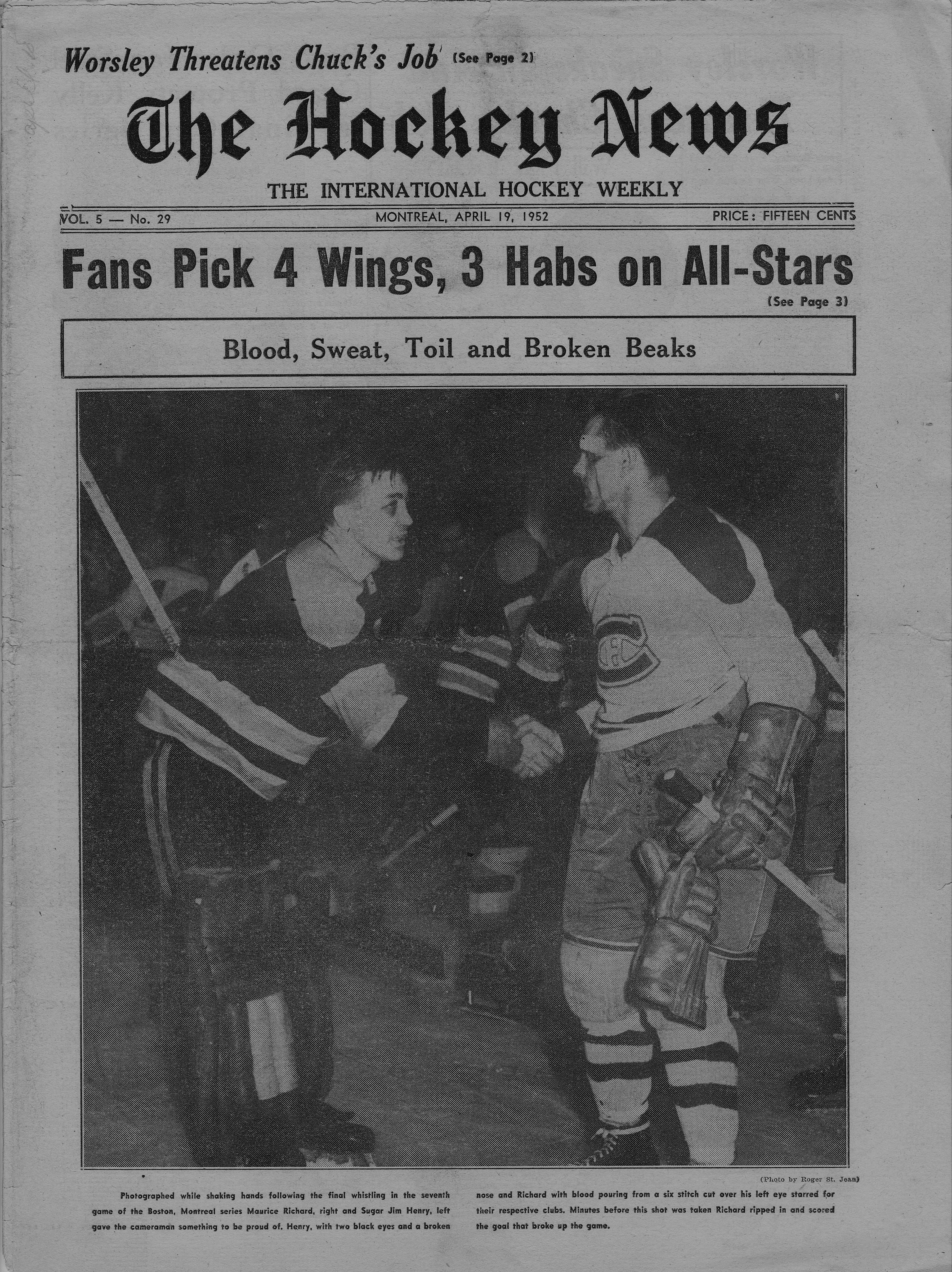 The famous photo of a bleeding Maurice Richard shaking hands with Boston  goalie Sugar Jim Henry 292c28735
