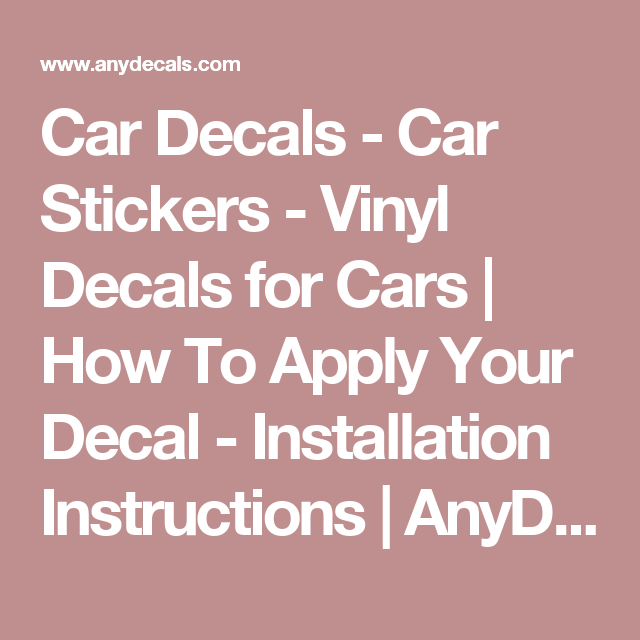 Car Decals Car Stickers Vinyl Decals For Cars How To Apply - Installing vinyl decals