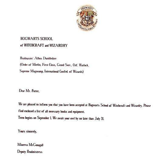 Write a Harry Potter Acceptance Letter – Hogwarts Acceptance Letter