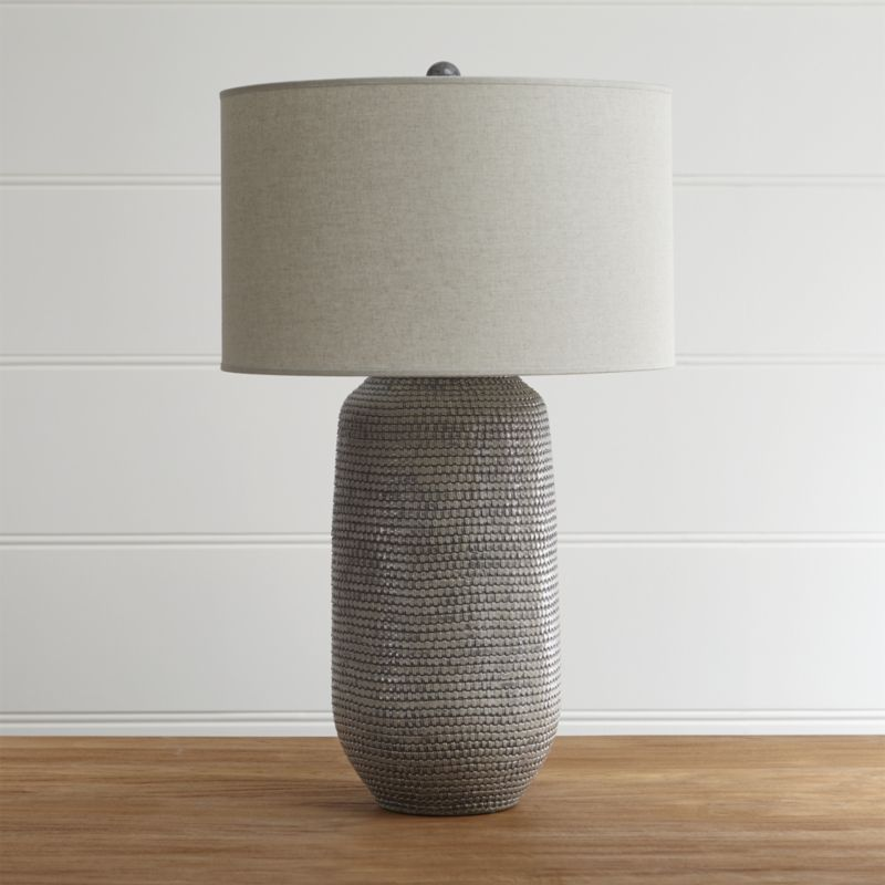 Cane Grey Table Lamp Bits Of Clay Locally Sourced In The Philippines