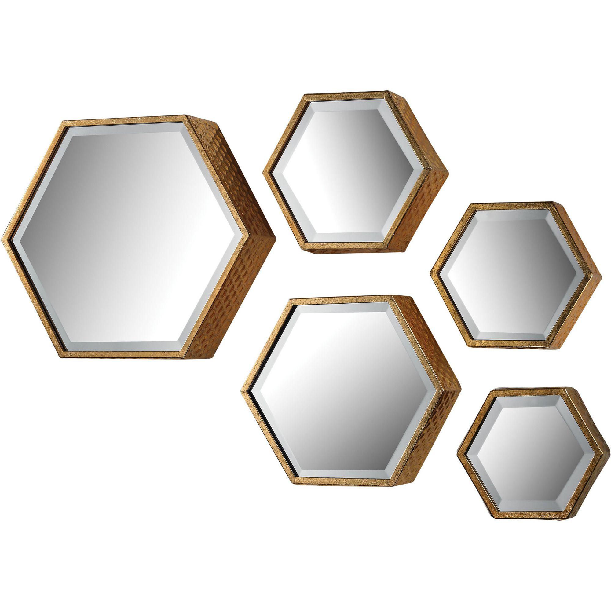 Sterling Industries Hexagonal Beveled Mirror  Set Of 5