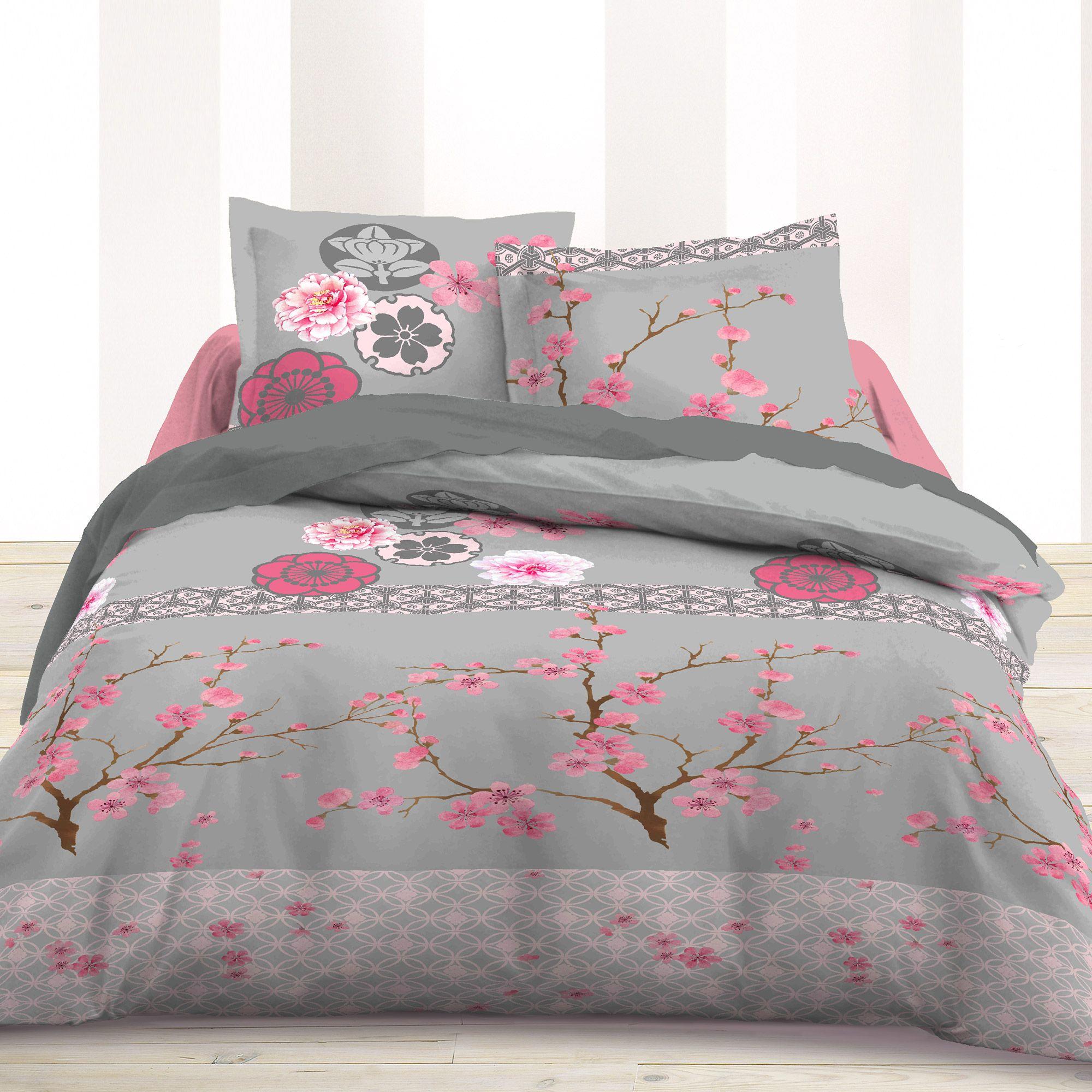 Parure de couette sakura avec fleurs de cerisier fleurs - Housses de couette la redoute ...