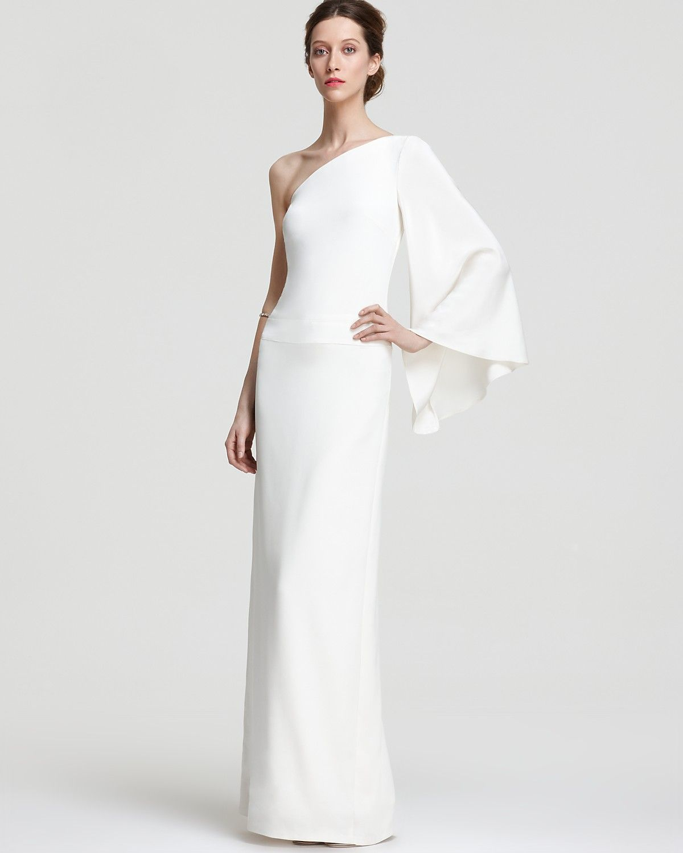 Nicole Miller One Shoulder Gown Kimono Sleeve Bloomingdales