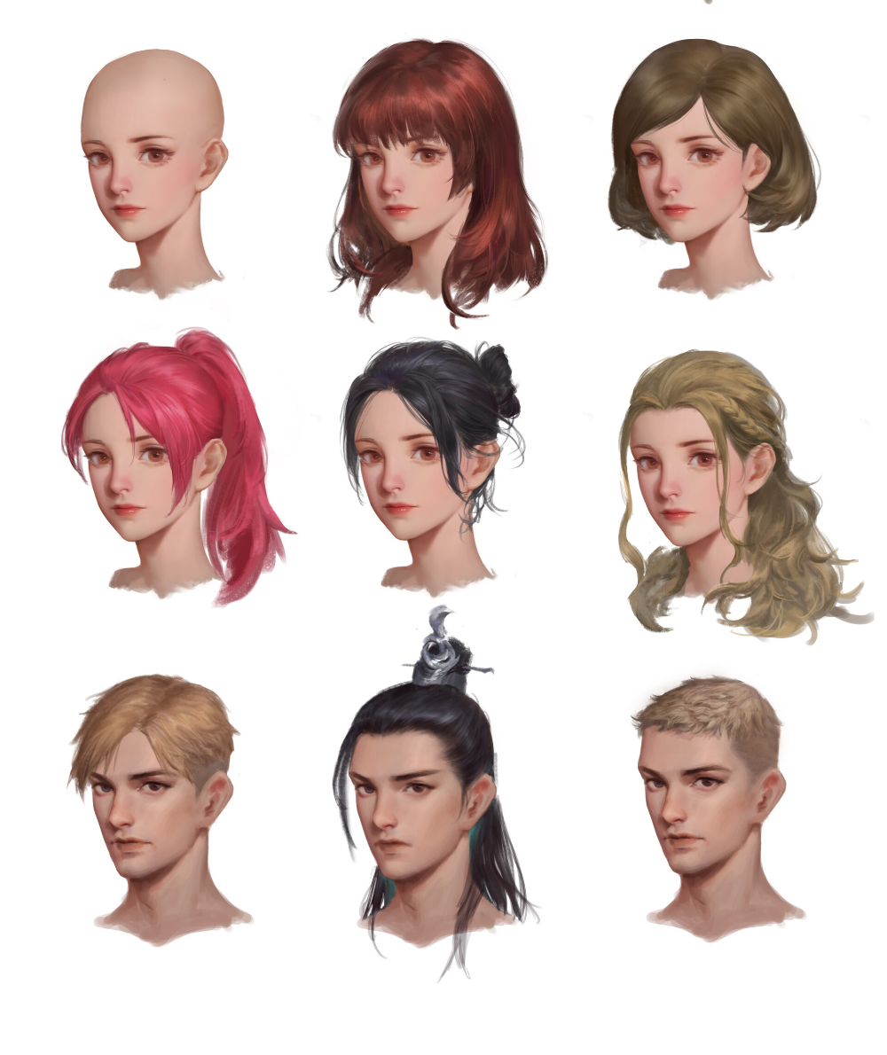 artstation 发型范画by 慕青老师 chen zhan fantasy art men digital art tutorial concept art characters