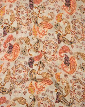 Off-White Orange Paisley Pattern Digital Print Viscose Crepe Fabric