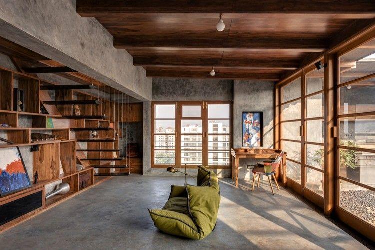 Veranda On A Roof Studio Course Concrete Interiors House Design Penthouse Apartment