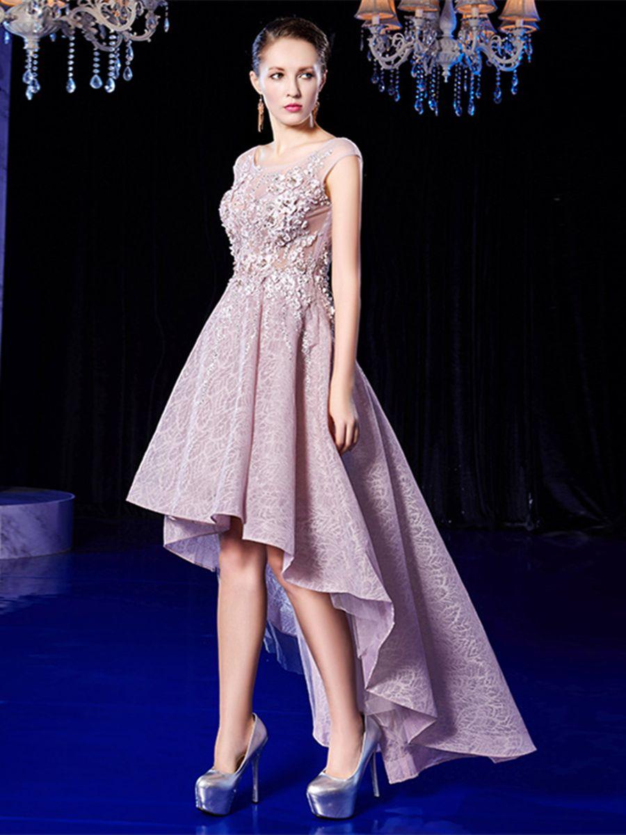 Scoop appliques lace aline asymmetry prom dress occasion dresses