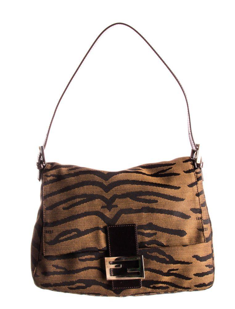 9025f3355fad FENDI Brown Tiger Canvas Baguette Bag
