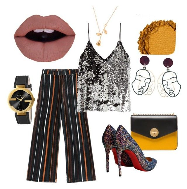 The party night by alys-myc on Polyvore featuring polyvore, fashion, style, Samsøe & Samsøe, Christian Louboutin, Bally, Gucci, Urban Decay and clothing