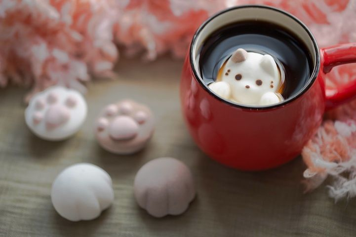 Japanese shop Yawahada creates CafeCat - floating marshmallow cats for your coffee. Package of 6 costs $8. :)