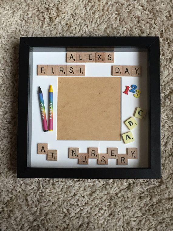 Bespoke First Day at School//Nursery//Preschool Scrabble letters photo frame