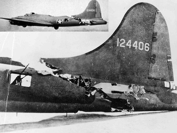 A B-17 that was able to limp home after being sliced by an ME-109. You can see plenty more Damaged B-17s in our Damaged B-17s Photo Gallery....