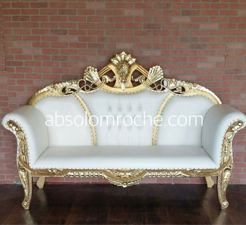 Floor Model Absolom Roche Indian Wedding Sofa Gold White