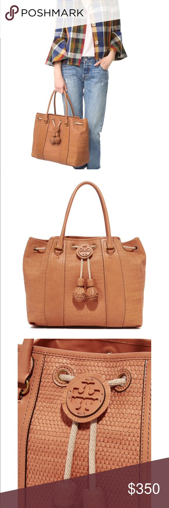 fa94ae444fd Tory burch Amalfi Woven Drawstring Tote Used a few times! There are some  scratches on