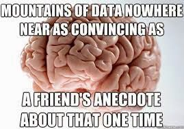 Not Awful And Boring Examples For Teaching Statistics And Research Methods Anecdote Is Not The Plural Of Data In Three Memes Scumbag Brain Brain Meme Scumbag