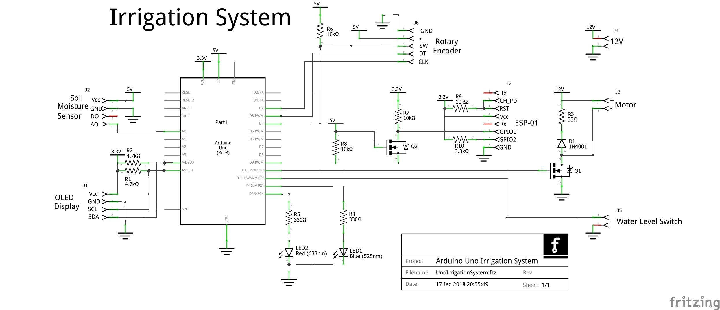 Schematic drawing of Arduiino Uno based irrigation system ...