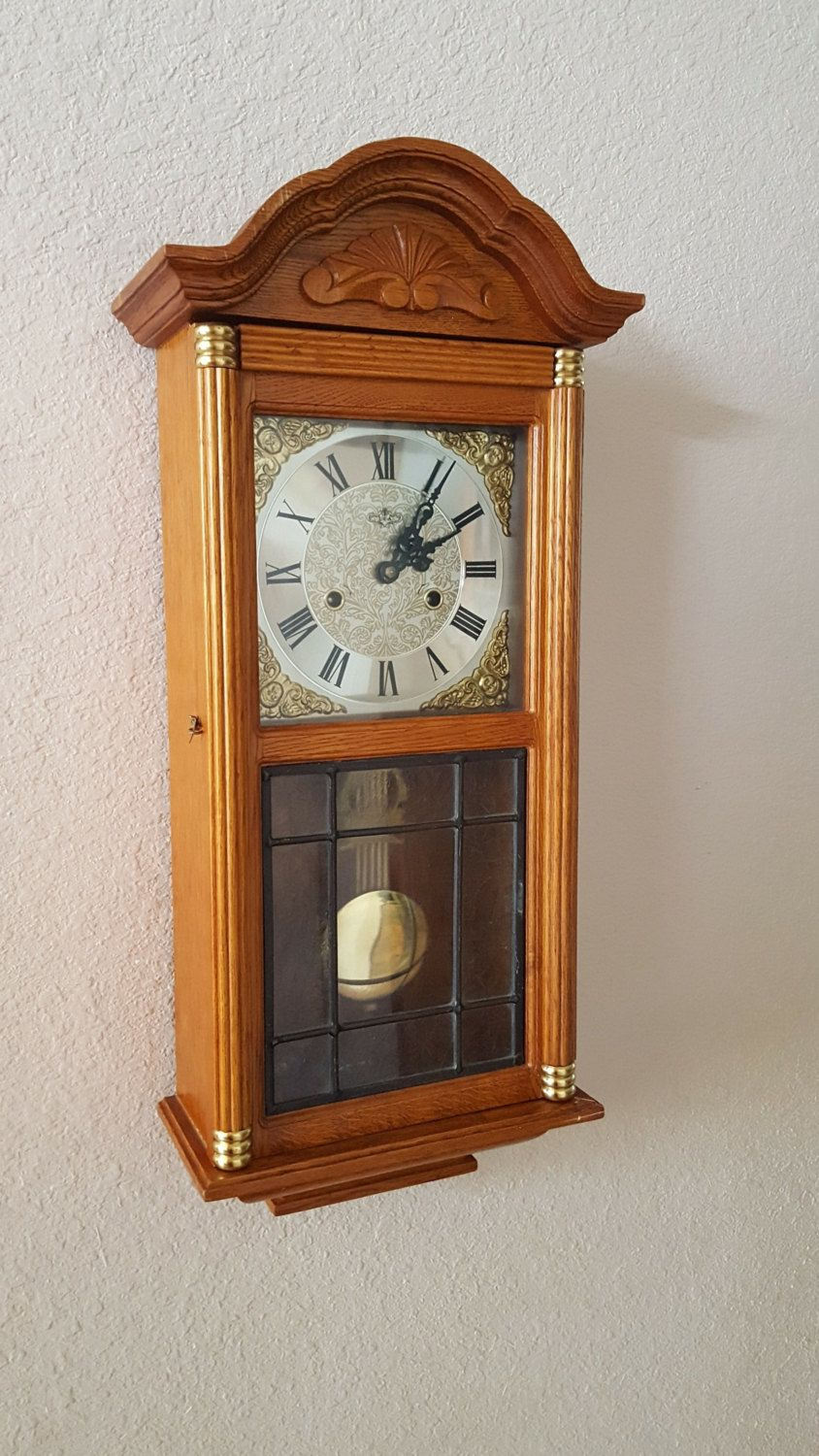 Restored Vintage Antique D A Brand 31 Day Key Wind Etsy Wall Clock Cherry Wood Stain Clock