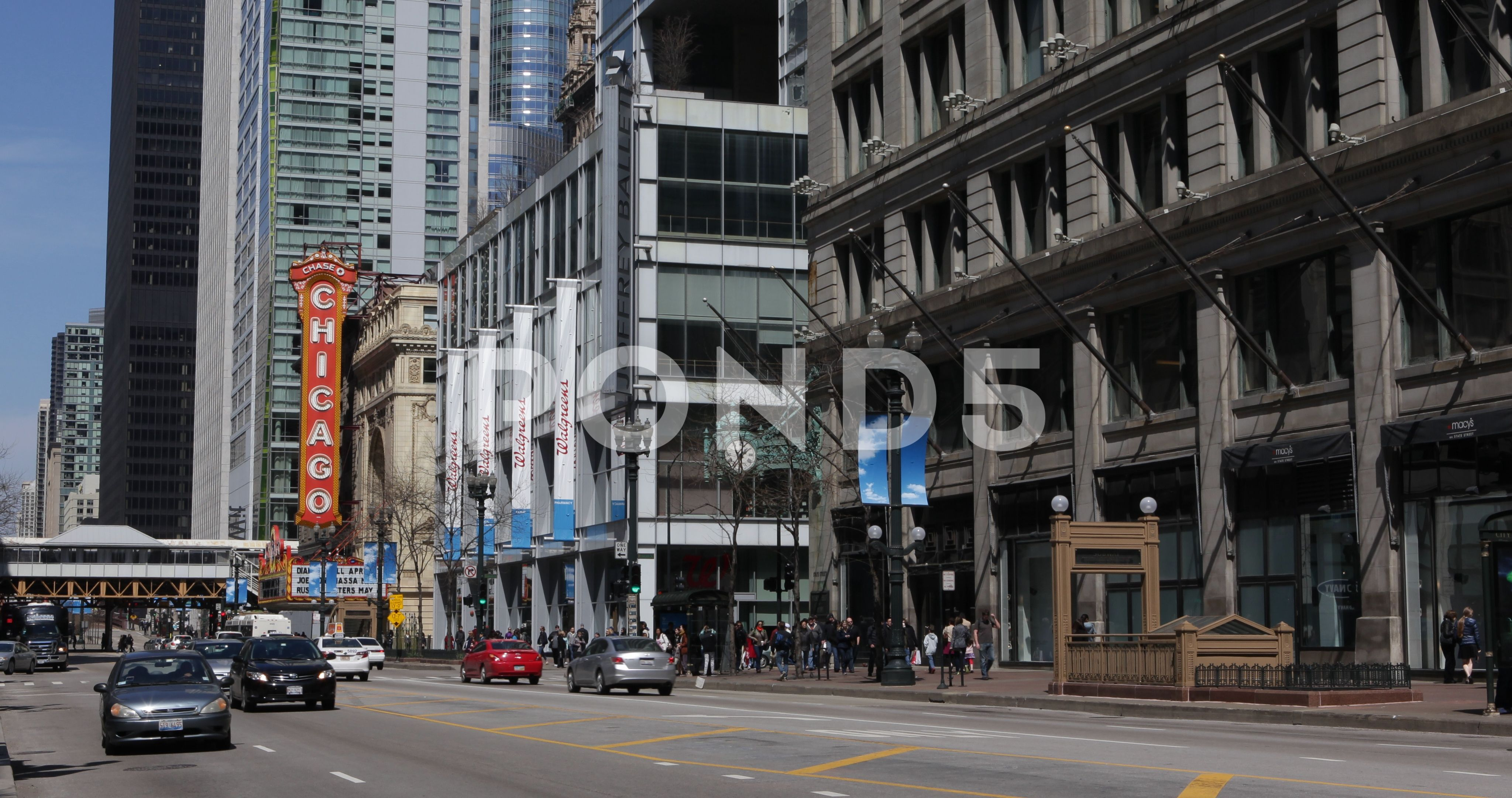 Chicago City with Cars Traffic on State Street and People Walk on Sidewalk Day TrafficStateStreetChicago