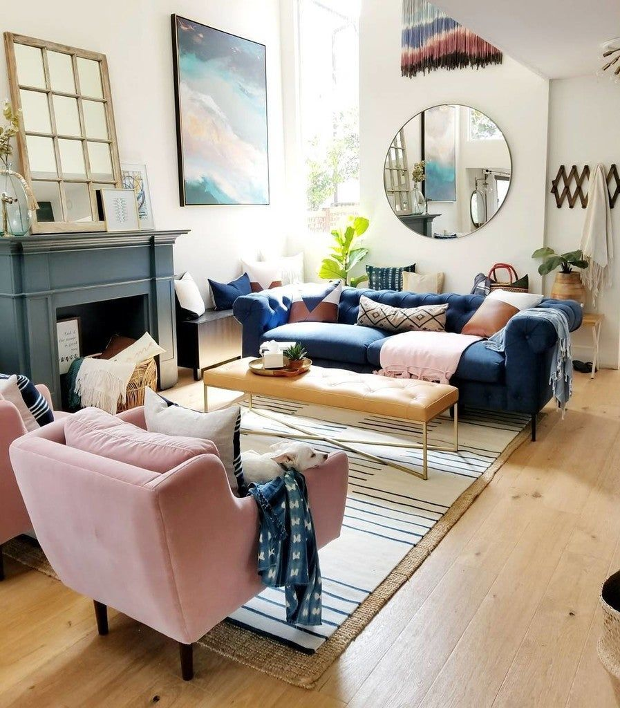 matrix blush pink chair in 2020  blue pink living room
