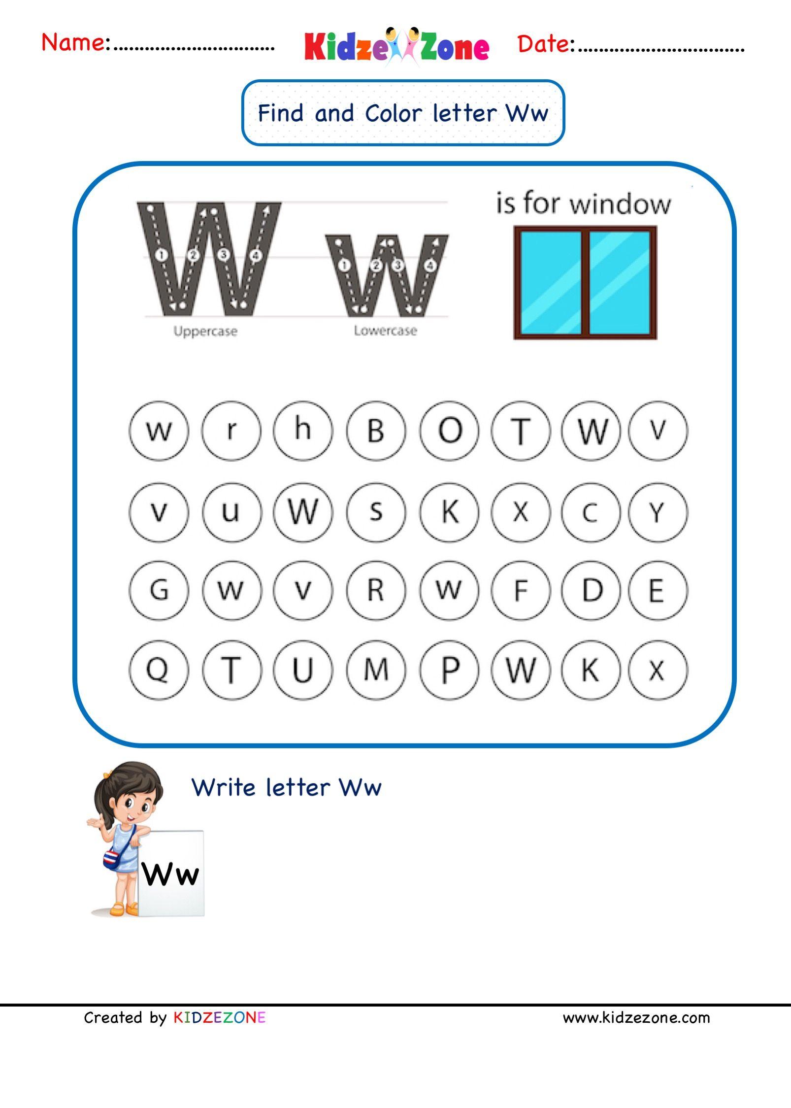 Letter W Find And Color Worksheet In 2020 Letter W Worksheets Kindergarten Letters Letter W