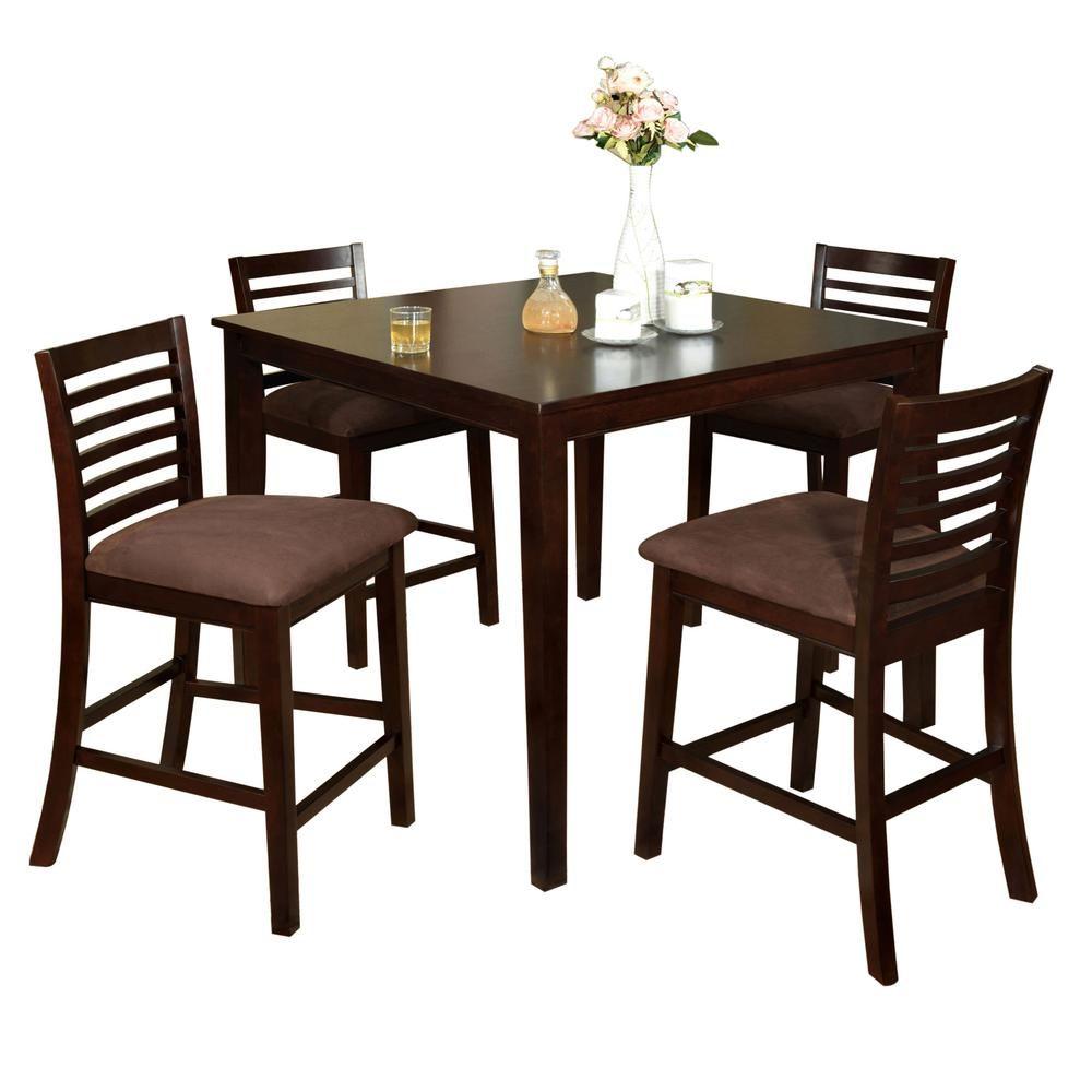 Venetian Worldwide Eaton I 5 Piece Espresso Bar Table Set Brown