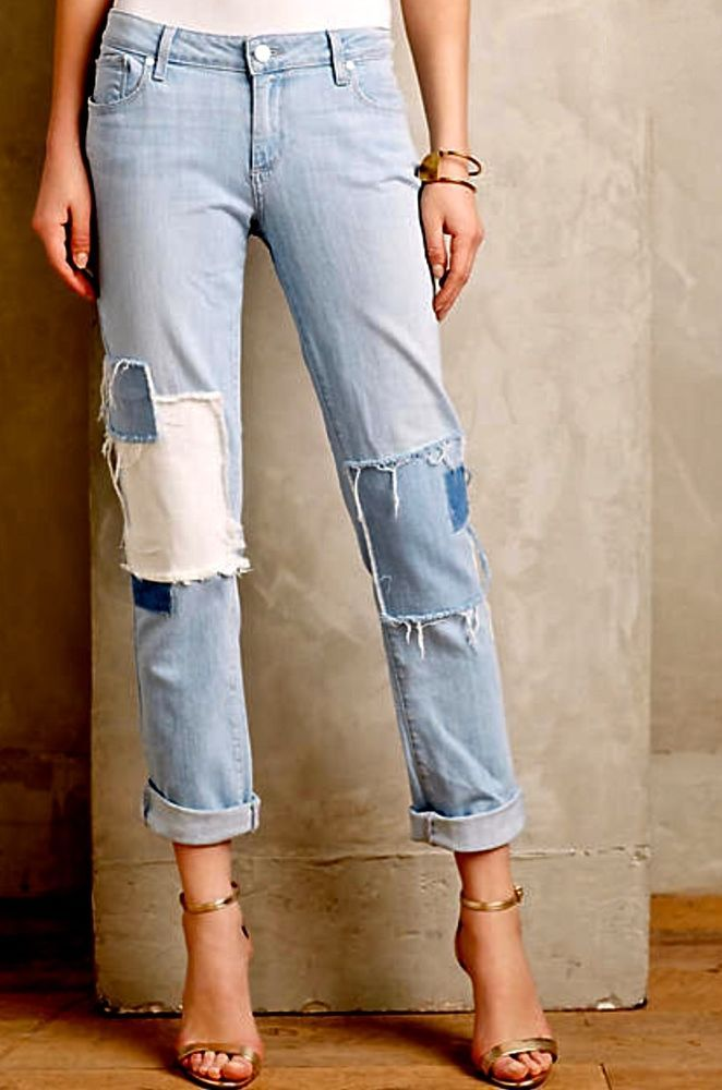 NEW Anthropologie Paige Jimmy Jimmy light denim Patched Jeans 27 $249 #PaigeDenim #patchedjeans