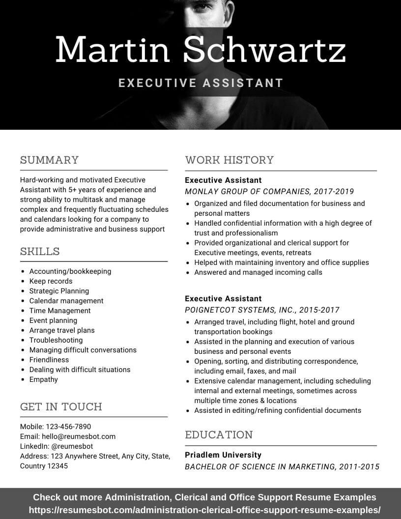 Executive Assistant Resume Samples and Tips [PDF+DOC