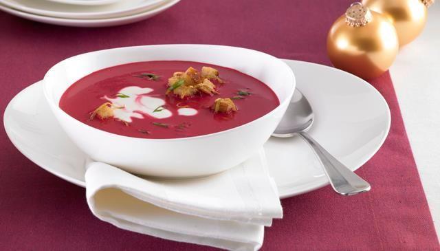 Rote Rüben-Cremesuppe mit Zitronen-Croutons