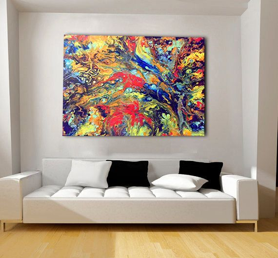 colorful extra large wall art oversized abstract metal print bohemian decor abstract wall. Black Bedroom Furniture Sets. Home Design Ideas