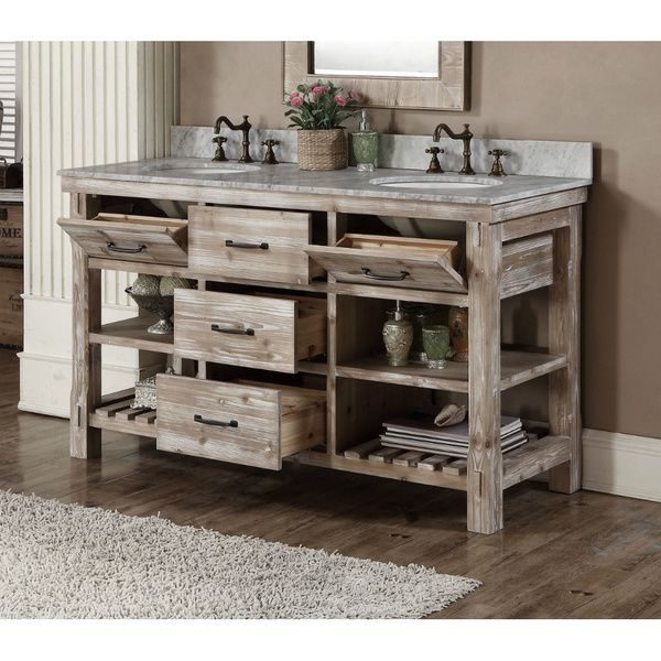 60 Inch Rustic Double Sink Bathroom Vanity Marble Top Bad