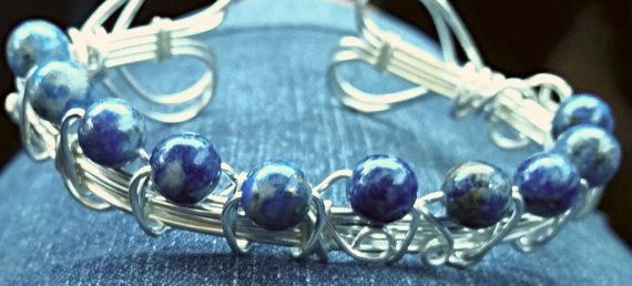 Twin Hearts Wire Wrapped Adjustable Cuff Bracelet Silver with Sodalite