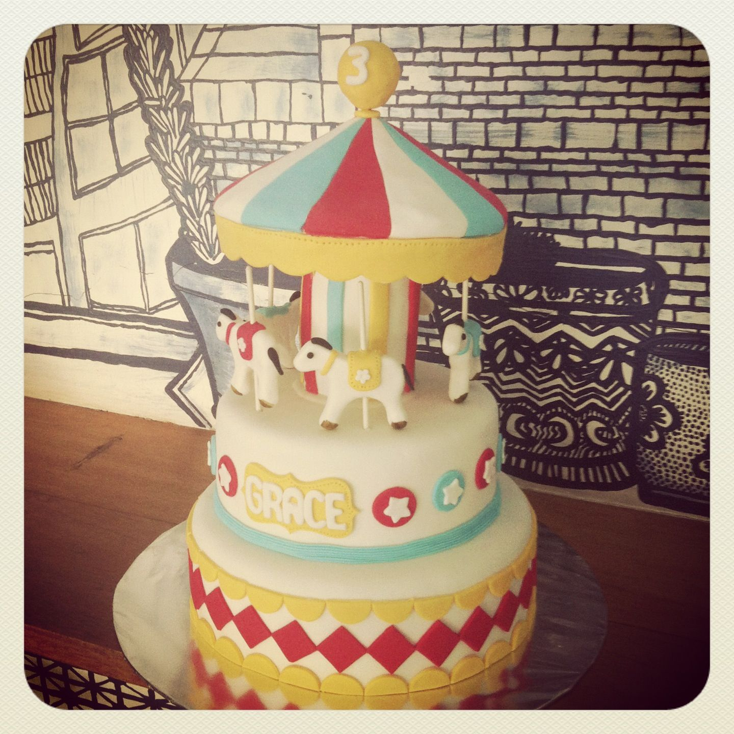 Carousel Cake For A Carnival Theme Birthday
