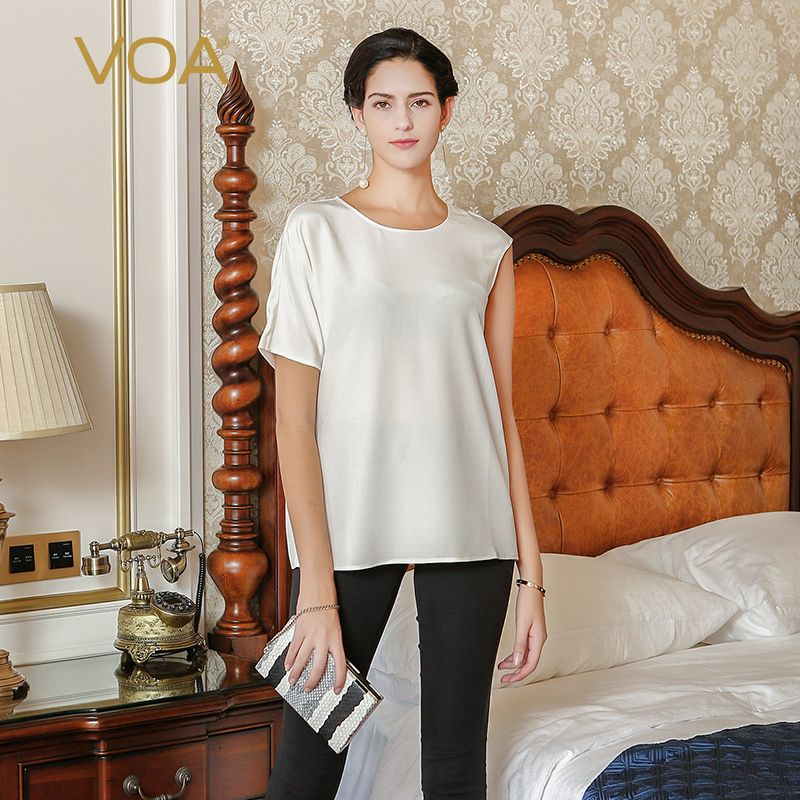 New white color high-end 98%  silk T-shirt female VOA short sleeved elastic loose asymmetric tops B6652 #Affiliate