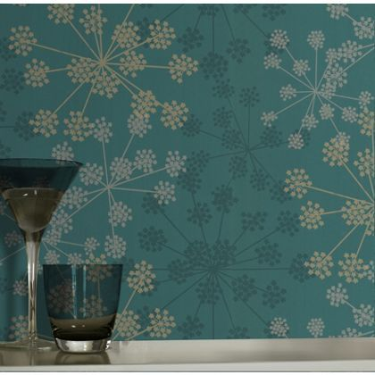 Graham and brown sparkle wallpaper teal at homebase for Teal wallpaper living room