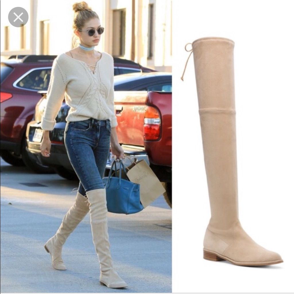 knee suede boot | Leather thigh high boots