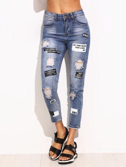 Pantalones vaqueros flacos de la impresión de la letra  a13bf3639e8