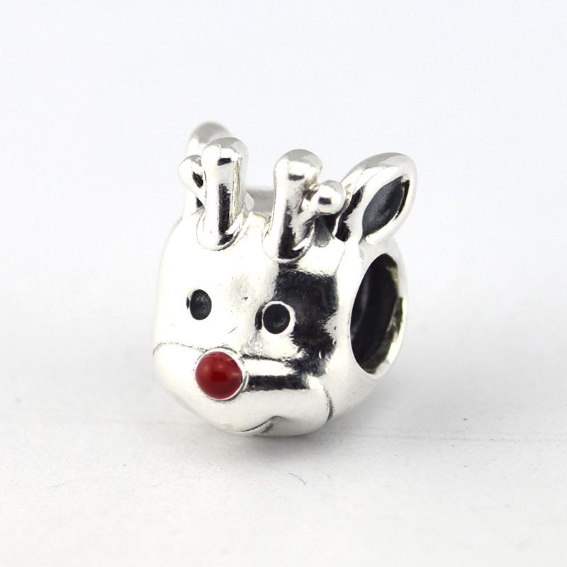 3b9511fe5 Reindeer Sterling Silver Jewelry Bead Christmas Red Nose Reindeer Red Ename  Fit European Charm Bracelet Winter