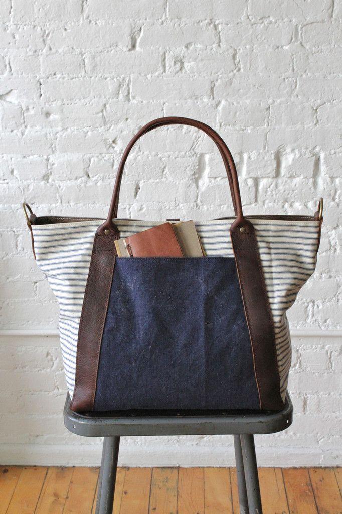 fd2f6da65 1950's era Ticking Fabric Weekender | Handbags | Denim bag, Fabric ...