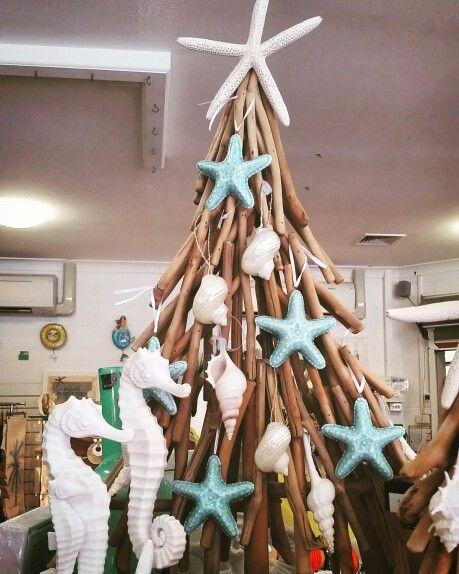 Coastal Christmas with driftwood tree, shells and starfishAt Zephyr